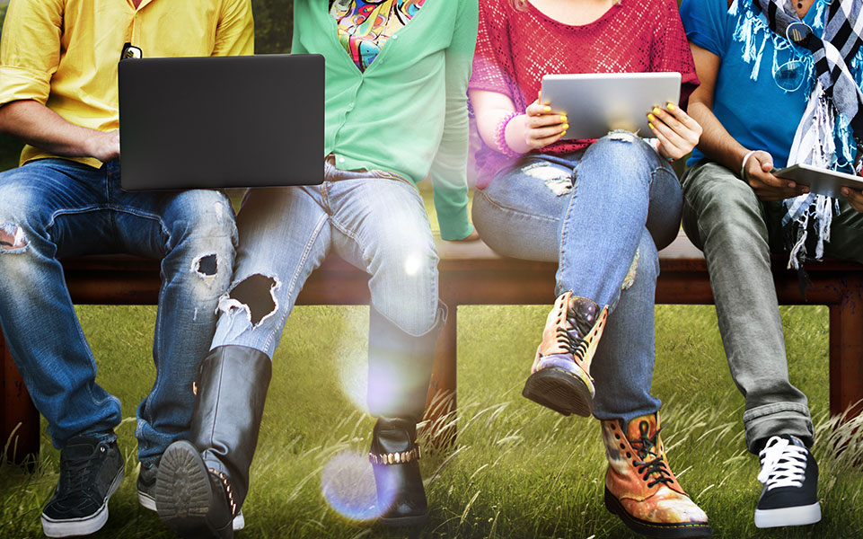 Students use social networks on their mobile devices.