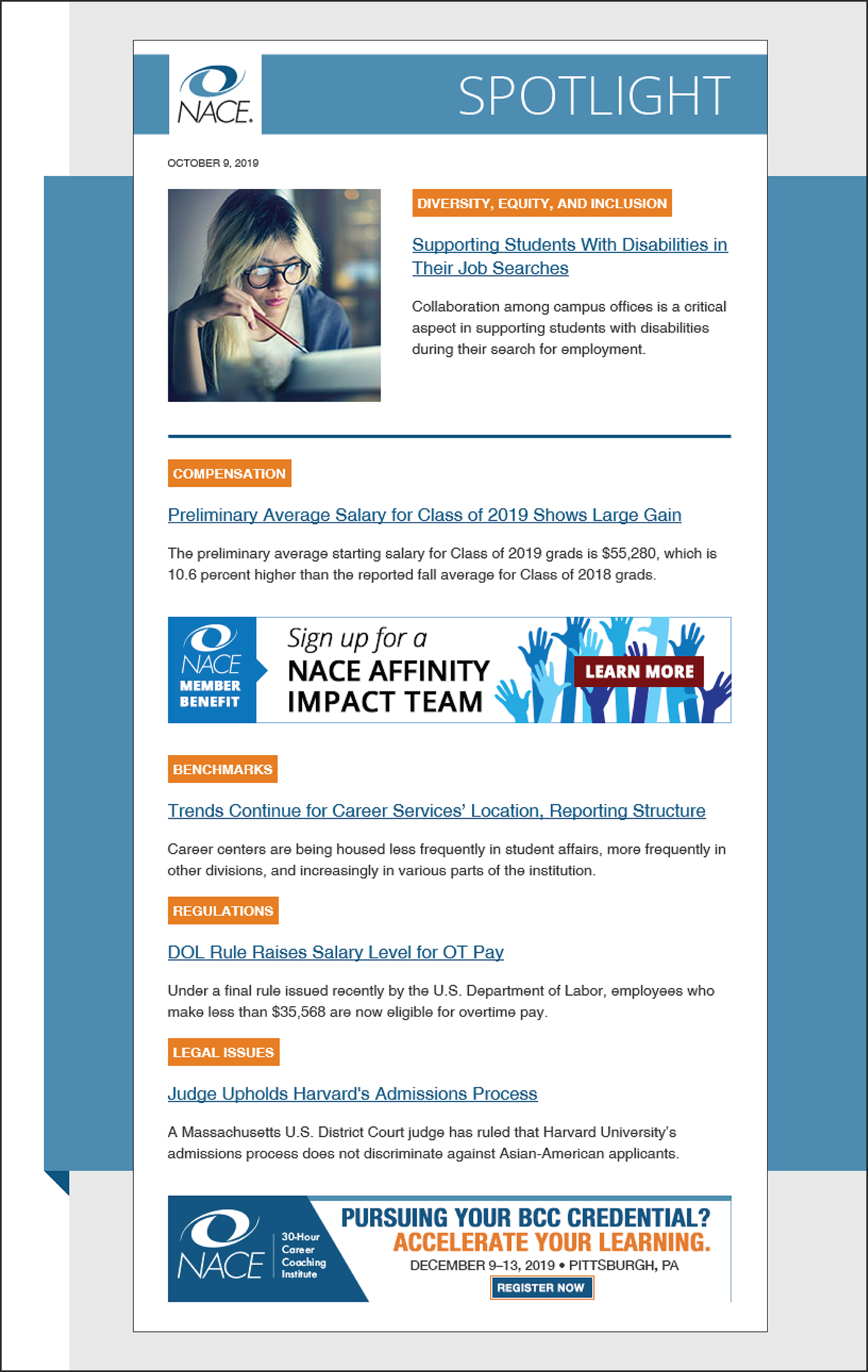 A screenshot of the NACE Spotlight email newsletter, featuring banner advertisements.